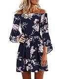 Yoins - Vestido de verano para mujer, corto, sin hombros, manga larga, atrevido, estampado floral, vestido de playa azul XS