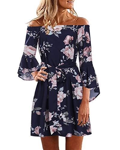 YOINS Damen Sommerkleider Lange Ärmel Schulterfrei Eelegant Sexy Blumenmuster Kurzes Strandkleid blau S/EU36-38,S/EU36-38,Blau