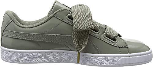 Puma Damen Basket Heart Patent Low-top Sneaker, Grau (Rock Ridge), 42 EU