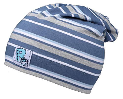 Fiebig Jersey Mütze Jungen Beanie Sommermütze Jerseybeanie gestreift Jeans grau blau (53/55)