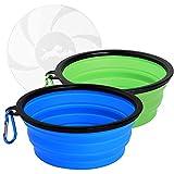 Hianjoo Cuenco Perro, 2 * 1000ML Plegable Viajes Silicona Gatos Perros Bowl Comedero para Mascotas Bebedero Plegable de Viaje con Gancho de Agua y Tapa, Juego de 2 Verde y Azul