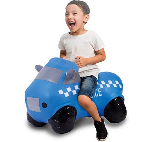 JAMARA 460455 Hüpfauto Police Truck mit Pumpe, BPA-Frei, bis 50 kg, fördert den Gleichgewichtssinn und die motorischen Fähigkeiten, robust und widerstandsfähig, pflegeleicht, blau