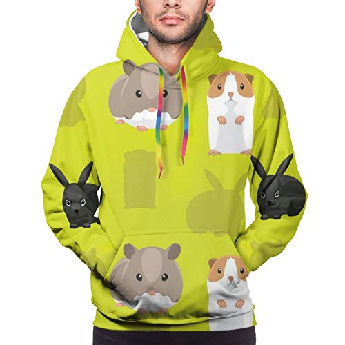 Hangdachang Rodent Pet Guinea Pig Standing Youth 3D Printed Hooide Sweatshirt with Pocket L