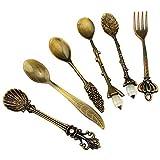 Yihaifu 6pcs Retro Tablewear Forcella in Lega di mestolo Paletta siviera 6pcs retrò Cucina Mestolo di Uso della casa Cucchiaino Posate