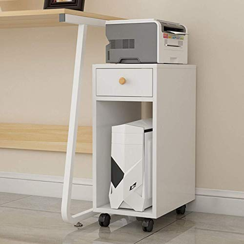 DFBGL Printer Stands Wood Laser Printer and Copier Stand, CPU Rolling Stand with Locking Caster Wheels 10.6 X 15.7 X 27.6 Inches (Color : White)