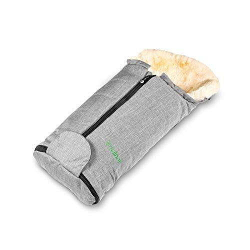 Fellhof 109207 Lammfell Fußsack Meribel, OEKO-TEX® Standard 100 zertifiziert, 35x80 cm, wind- und wasserdicht, bei 30 °C waschbar, für Babyschale und Babywanne (black-melange)