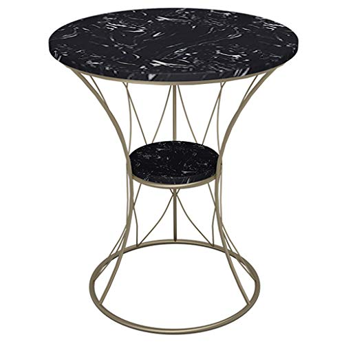 GYX-Coffee Tables Round Side Table, 2-Tier Marble Top/Wrought Iron Frame, 50x60cm