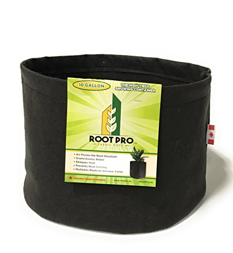 RootPro Fabric Pot 5-Pack 10 Gallon High-Yield Grow Bag for Root Aeration. Highly Durable + UV Resistant and Permeable Nonwoven Fabric Planter Pot. Military Grade Sewing for Superior Strength