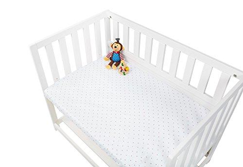 Pinolino 540024-7D Spannbetttücher für Wiegen, Anstellbettchen und Kinderwagen im Doppelpack 'Sternchen', Jersey, Uni, weiß/rosa