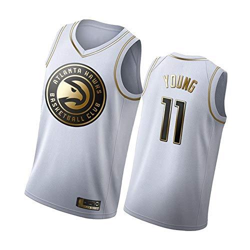 Nick Young Herren Basketball Trikots Atlanta Hawks 11#, 90er Jahre Hip Hop Kleidung für Party, Klassische gestickte ärmellose Westen-White C-XXL
