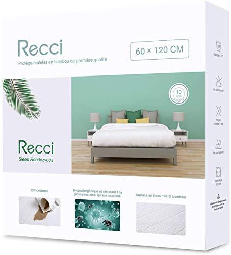 RECCI Protège Matelas 90x190/200 cm - 100% Fibre De Bambou, Ultra Doux, Hautement Respirant,...