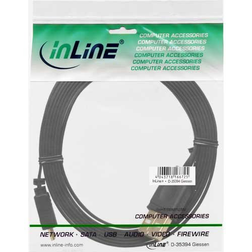InLine 31750F Micro-USB 2.0 Flachkabel, USB-A Stecker an Micro-B Stecker, 5m