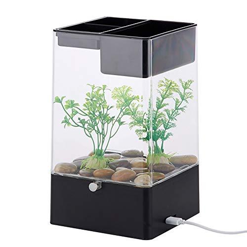Mini-Aquarium für den Tisch, selbstreinigendes Aquarium, kreatives Aquarium, rote Fische, Acryl-Aquarium mit Basis-Set für Aquarium mit LED-Beleuchtung, Schwarz / Weiß (Schwarz)