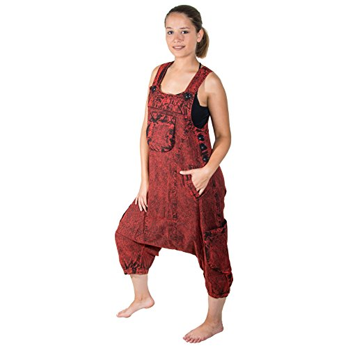 KUNST UND MAGIE Unisex Vintage Latzhose Stonewashed Unifarben, Größe:M, Farbe:Rot