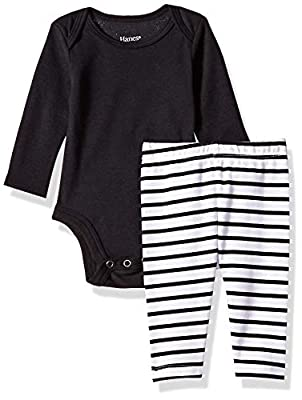 Hanes Ultimate Baby Flexy 2 Piece Set (Pant with Long Sleeve Bodysuit), Black Stripe, 0-6 Months