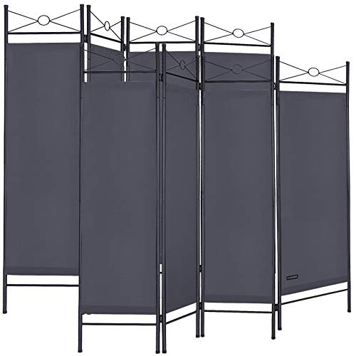 Deuba 2er Set Paravent Lucca 180x163 cm Raumteiler Verstellbar 4 TLG Trennwand Spanische Wand Raumtrenner - Grau