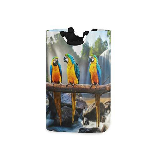 LOSNINA Wäschesammler Wäschekorb Faltbarer Aufbewahrungskorb,Papagei Niedliche Papageien Vögel Blau Gelb Federbaum Ast Wasserfall Felsen Grüne Pflanzen Sonnenlicht Natu,Wäschesack - Wäschekörbe