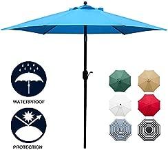 Sunnyglade 7.5' Patio Umbrella Outdoor Table Market Umbrella with Push Button Tilt/Crank, 6 Ribs (Blue)