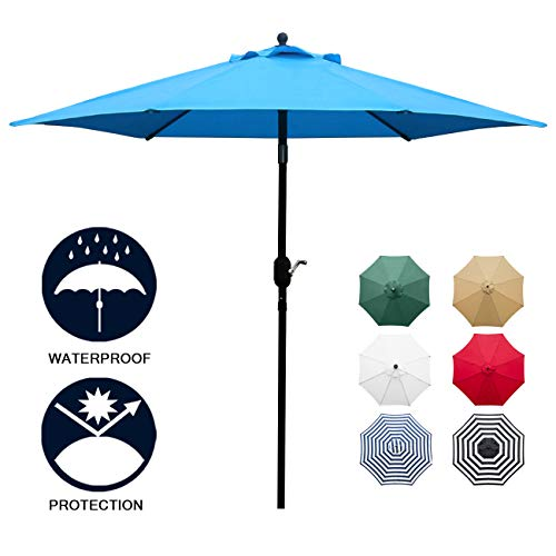 Sunnyglade 7.5' Patio Umbrella Outdoor Table Market Umbrella with Push Button Tilt/Crank, 6 Ribs (Blue)