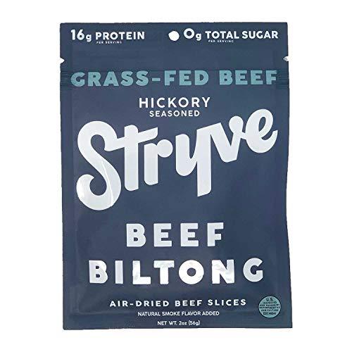 Stryve Beef Biltong, Grass-fed Biltong Jerky, 16g Protein, 0g Sugar, 1g Carb, Gluten Free, No Hormones, No Antibiotics, No Preservatives, No Nitrates - Smoked, 2oz