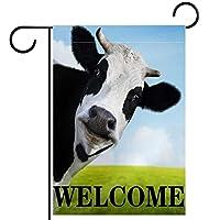 ガーデンサイン庭の装飾屋外バナー垂直旗面白い動物牛 オールシーズンダブルレイヤー