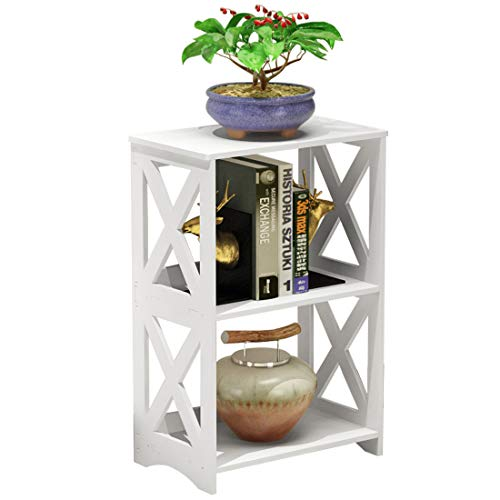 Rerii End Table, Side Table 2 Tier, Simple Bedside Nightstand, 2 Shelf Small Bookshelf Bookcase, Display Rack for Bathroom, Bedroom and Living Room, White