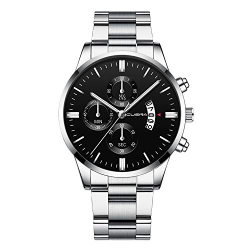 Neu Armbanduhr FGHYH Männer CUENA Men Fashion Military Stainless Steel Analog Date Sport Quartz Wrist Watch Uhr Armbanduhr(Silber)