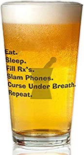 Transparent glass beer mug - Pharmacist Slam Phones.PNG Pint Glass,16 oz. Drinking Glass– Elegant design for the home and kitchen – lead free and BPA