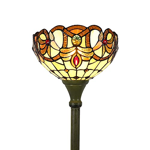 Tokira Lámpara de pie de estilo barroco Tiffany, lámpara de pie de estilo Tiffany con vitrales vintage de 64 pulgadas, lámpara de pie acogedora para sala de estar, 2 bombillas LED gratuitas