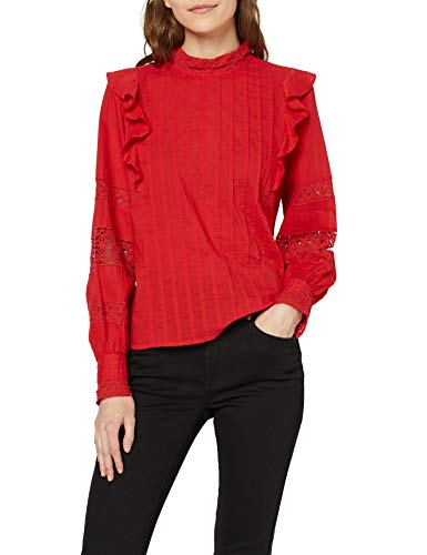 Marchio Amazon - find. Top in Pizzo Donna, Rosso (Poppy Red), 50, Label: XXL