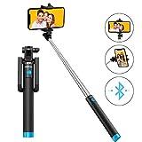 Mpow Perche Selfie Bluetooth, Selfie Stick Extensible de Poche/Bâton Selfie Réglable pour X/8/7 Plus/6,Galaxy Series et Plupart Smartphone Android - Bleu [Garantie de 18 Mois]