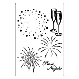AESMAKER Clear Stamps Sheets, 4.33'x 6.3' Firework Theme Wine Transparent Silicone Seal Rubber Cling Stamps for DIY Scrapbooking Photo Album Decorative