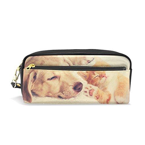 Isaoa grande capacità zipper Pencil box Stationery Supplies per ragazzi ragazze studente grande capacità creative camouflage Pencil Case gattino e cucciolo dormire Pencil bag