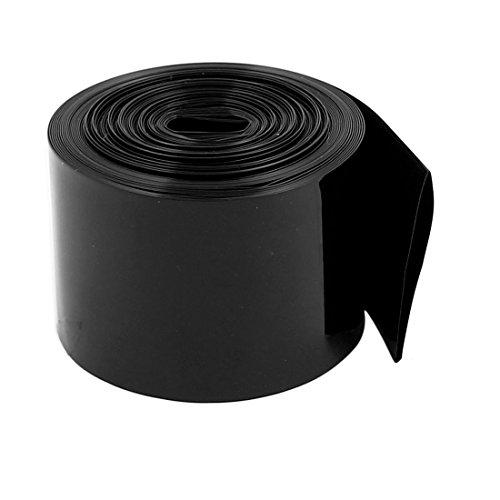 sourcing map 30mm de anchura plana 2,2 M Longitud de PVC de encogimiento de calor de tubo de Negro 18650 baterías paquete de batería
