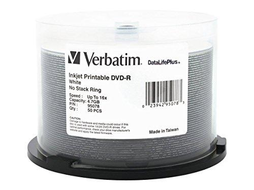 Verbatim 47GB Up to 16X Datalifeplus White Inkjet Printable Recordable Disc DVDR 50 Disc Spindle