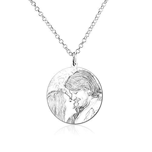 Souljewelry Collar Personalizado con Mensajes y Foto Colgante de Placa Redonda Titanio para Hombre Mujer Unisex Regalos para Parejas Familias Amigos