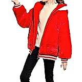 inlzdz Niñas Niños Chaqueta con Capucha Abrigo de Pelo Imitación Otoño Invierno Abrigo Chaqueta Gruesa Ropa Cálido Chica Rojo 13-14 años