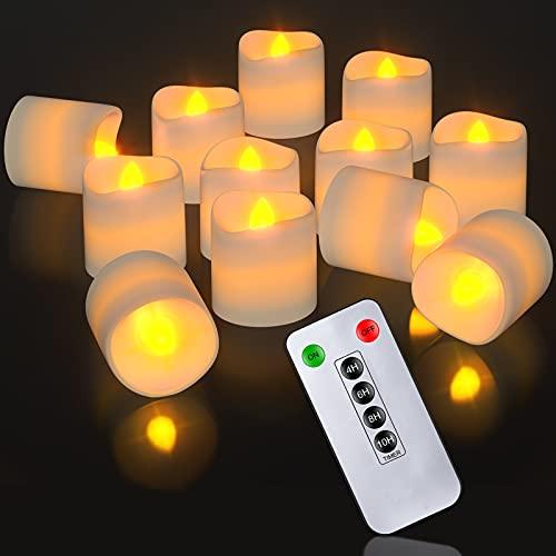Velas votivas LED con mando a distancia y temporizador, PChero 12 paquetes velas parpadeantes a pilas velas de té realistas velas sin llama para dormitorio boda fiesta decoración – blanco cálido