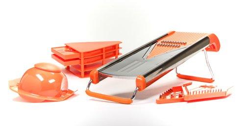Reibe Multifunktionsreibe UNIFIX Edelstahl V - Hobel PROFI, orange, spülmaschinenfest