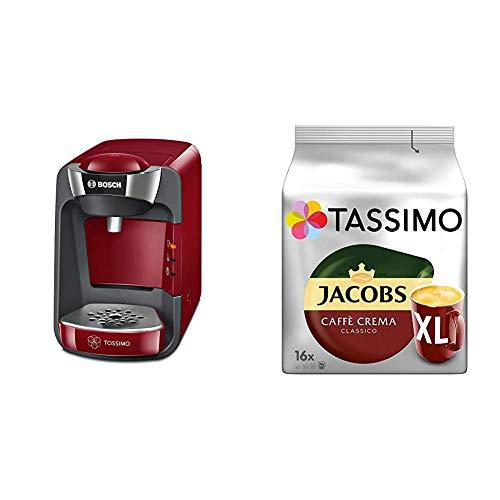 Bosch TAS3203 Tassimo Suny Kapselmaschine, über 70 Getränke, vollautomatisch, geeignet für alle Tassen + Tassimo Kapseln Jacobs Caffè Crema + Latte Macchiato + Milka + Probierbox