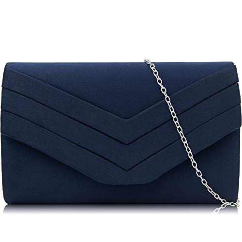 Milisente Evening Bag for Women, Suede Envelope Evening Purses Crossbody Shoulder Clutch Bag (Navy)