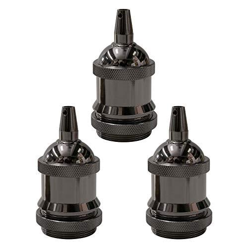 E27 Vintage Lampenfassung, Edison E27 Fassung, CE-isoliertes Metall-Lampenfassung, Schraubring Glühbirnenfassung, Lampenschirm montierbar, Mit Metallklemme, für DIY-Hängeleuchte, (schwarz, 3 pcs)PEBA