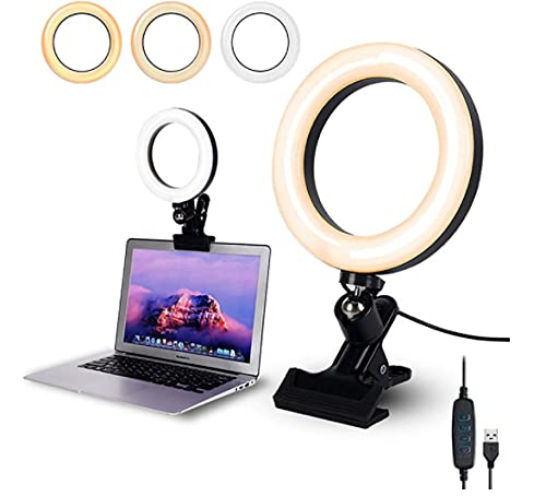 Bidafun Selfie Light Fixing Clip 15.2 cm, rotatable 360°, 3 colors and 10 brightness, can be clipped on laptop, desk, computer, bedside, night light, keyboard typing