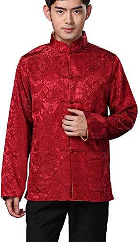 BLINGLAND Chinese Traditional Uniform Top Kungfu Shirt for Men US XXL Asia 3XL-Red+Gold