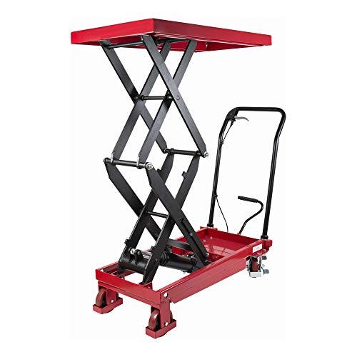 STIER Chariot à doubles ciseaux à plate-forme élévatrice, charge max. 350 kg, plateforme 910 x 500 mm, fonction de levage par pédale, table élévatrice mobile