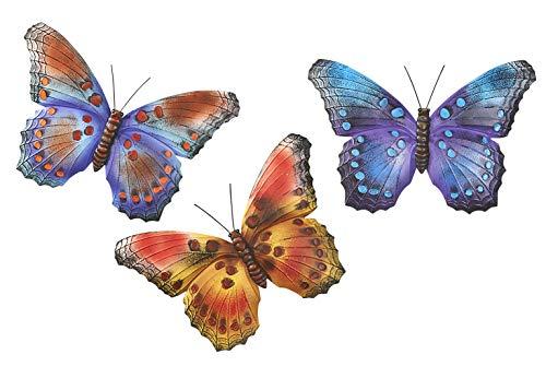 Kobolo Wand-Deko Schmetterling XXL - 3er Set - innen und außen - Metall - 42x2x29 cm