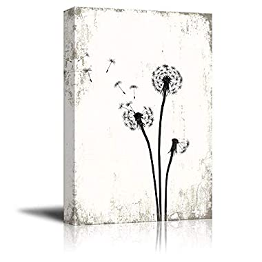 wall26 Canvas Wall Art - Flying Dandelion Seeds on Rustic Background - Giclee Print Gallery Wrap Modern Home Decor Ready to Hang - 12x18 inches