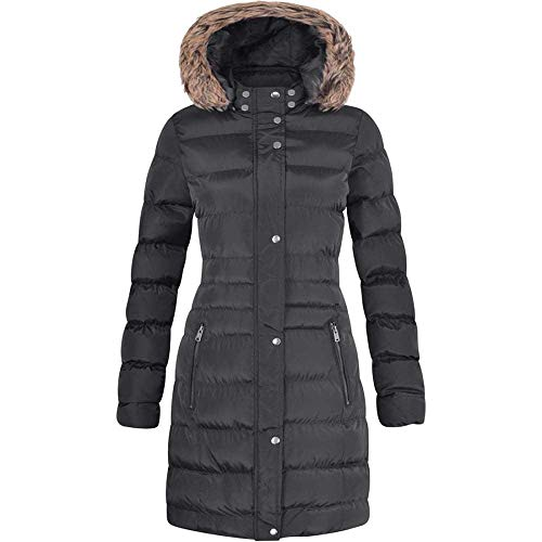 Spindle Womens Long Fur Trimmed Hooded Padded Puffer Parka Ladies Winter Jacket Coat 16 Black