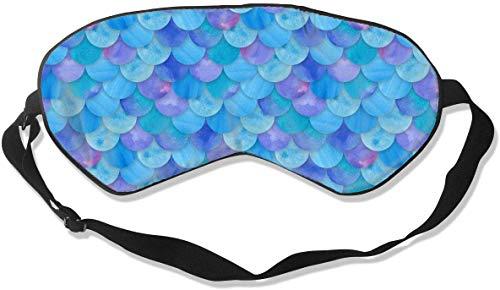 Antifaz de seda natural opaco, suave ajustable para los ojos para hombres y mujeres, niños, para dormir la siesta de viaje, trabajo de sombra de ojos, escamas de sirena, color azul, máscara de sueño suave