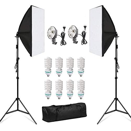Softbox, 2 Kit Iluminacion Fotografia 50x70 cm, 8 x 135W 5500K Bombilla, Softbox Kit con Trípode Plegable y Bolsa de Transporte, para Fotografía de Moda, Retrato y Video